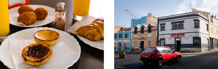 A closeup of pastries and a car driving in a historic city center