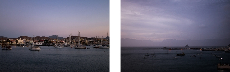 Scenes of a harbor at dusk