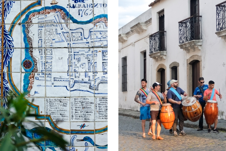A ceramic tile map of a colonial town and a drumming procession walking down the street