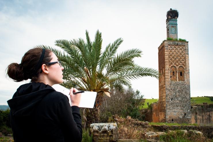 The ruins of Chellah's tiled minaret adorned by a stork nest