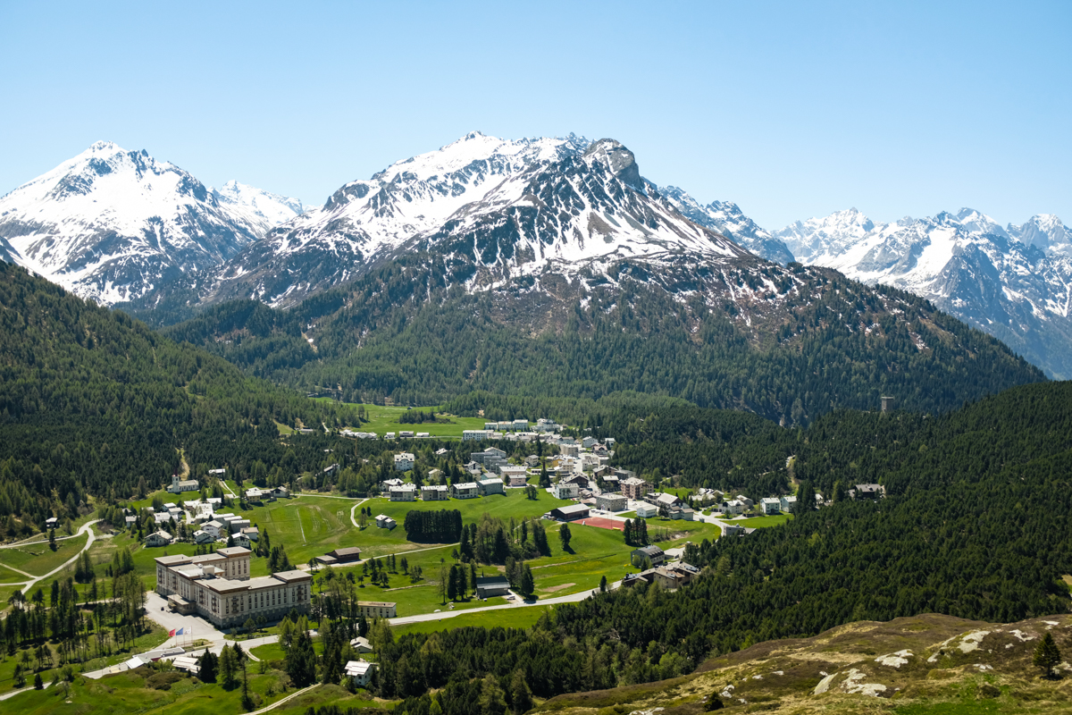 A panoramic view of a village in the mountains