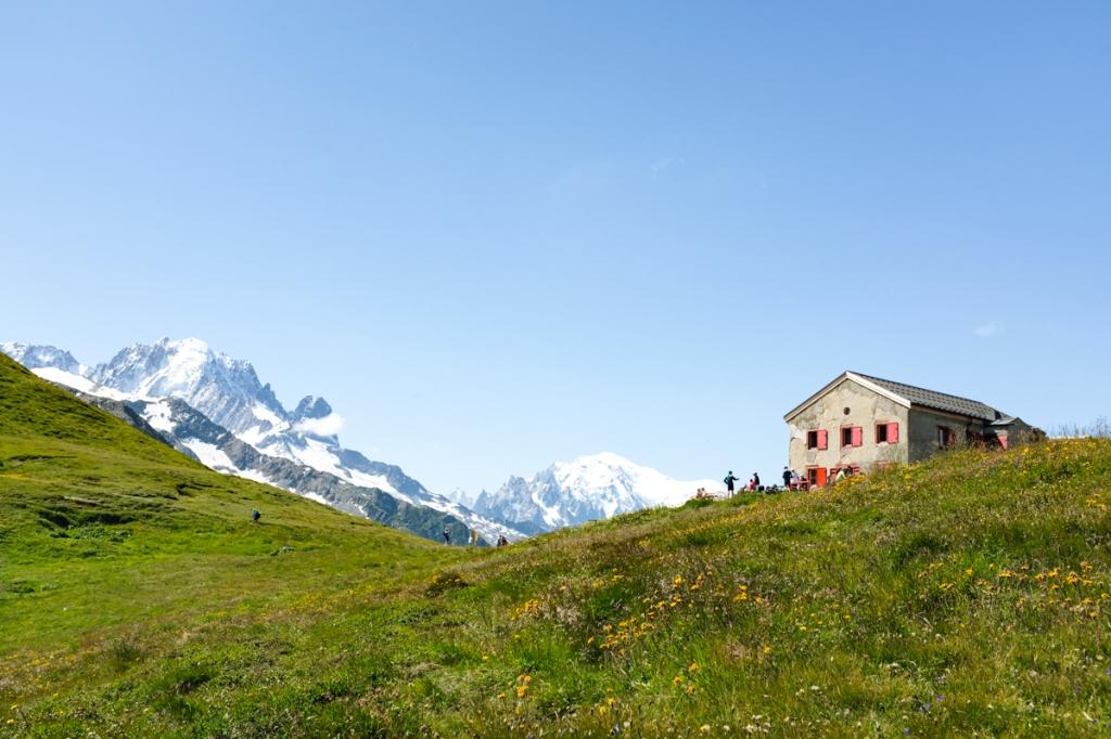 A mountain refuge by a glacier