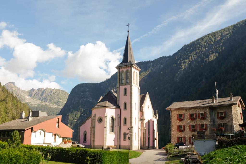 Village churches in sunlight