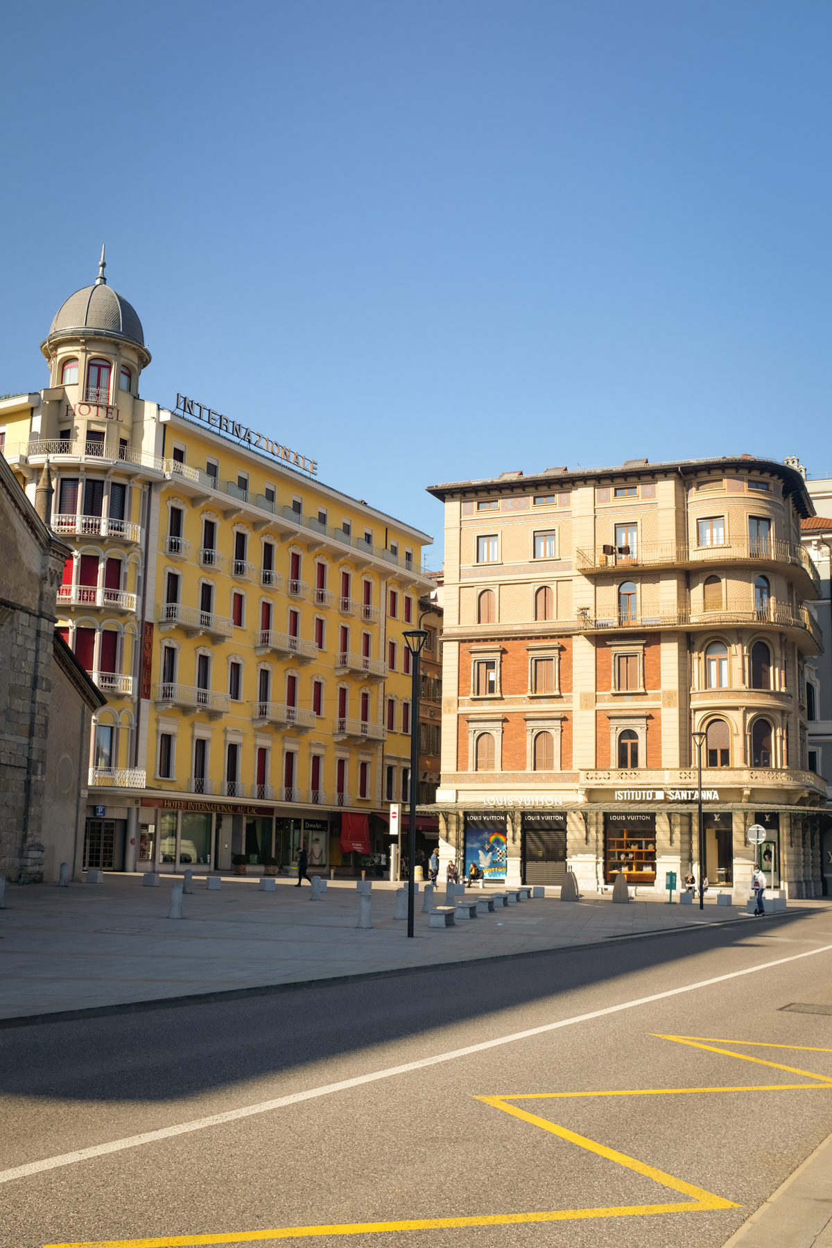 Neoclassical buildings and an empty street