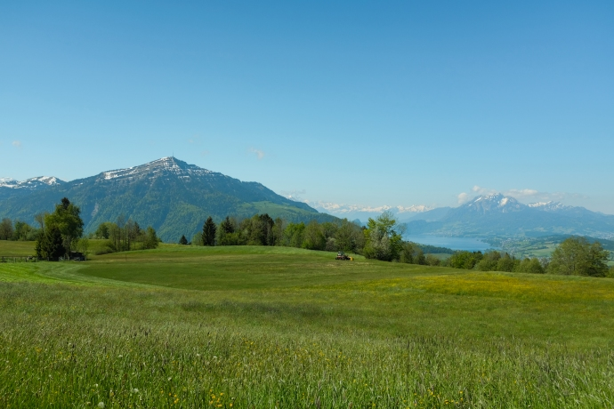 Farmland, lake, and mountains