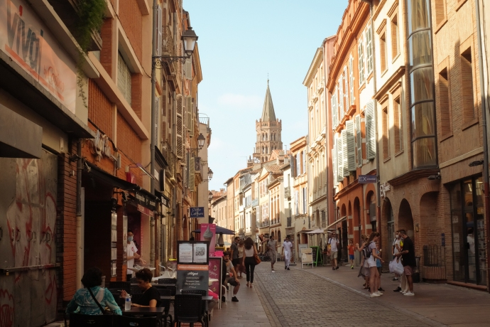 View of an old European city street